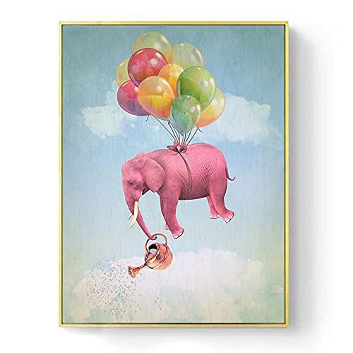 Kfbtbh Póster de Arte de Pared con Globo de Elefante Volador Rosa, Cuadro de Lienzo de Animales de guardería de bebé de Dibujos Animados, Cuadro nórdico para decoración de Dormitorio de Chico 45x60cm