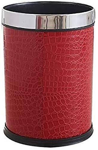 BYXG Plaza de la Basura de Cuero Can, Rojo Cubo de la Basura sin Tapa hogar Papelera Papelera de plástico Delgado for el baño, Dormitorio o la Oficina de residuos (Color : Red, Size : 12L)