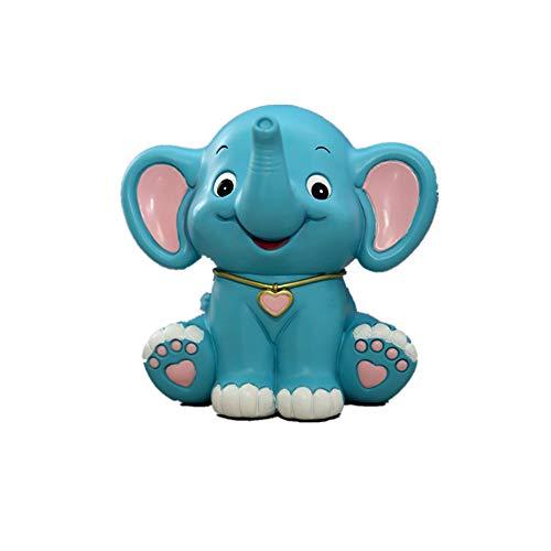 LSX Banco de ahorros de Dibujos Animados Elefante Creativo en Forma de Dinero Almacenamiento Tarro Regalo muñeca plástica Piggy Bank niño niño niña (patrón Rosa Azul),Blue