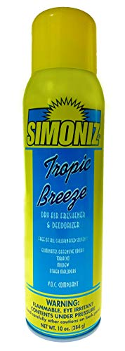 Simoniz Tropic Breeze Dry Air Deodorizer - Easy Spray Eliminates Cigarette, Cigar or Pot Smoke On Clothes, in Cars, Boats, Homes, and Office - Fine Spray Mist That Covers An Entire Room