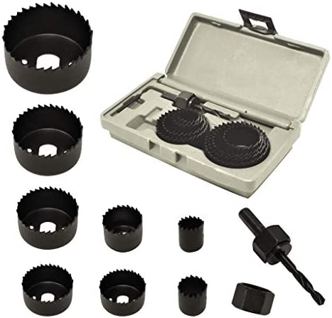 ryker hardware 10 Piece Hole Saw Kit for Wood Durable Carbon Steel Power Drill Hole Cutter With product image