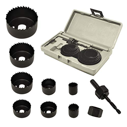 ryker hardware 10-Piece Hole Saw Kit for Wood - Durable Carbon Steel Power Drill Hole Cutter With High Precision Cutting Teeth - Woodworking HCS Hole Saw Kit For Wood, PVC, Plastic, Drywall