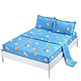 SDIII 3PC Dog Bedding Sheet Sets Twin Size Animal Bed Sheets with Flat Fitted Sheet for Boys, Girls and Teens