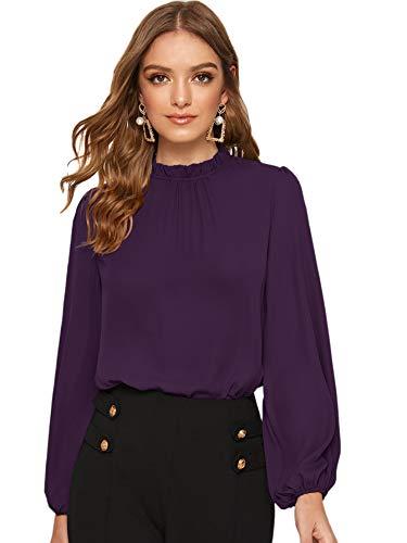 Floerns Women's Long Puff Sleeve Mock Neck Sheer Chiffon Blouse Tops Purple XL