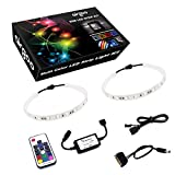 Magnetic Computer LED Strip Kit, Airgoo 2pcs 15inch PC RGB LED Strip Light, Vibrant LED Computer Lights Using Multi Function RF Remote for Desktop PC Computer Tower, Come with Sata Power Cable (White)