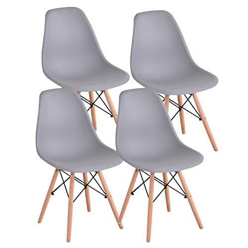 JIASEN Juego de 4 sillas de comedor de diseño moderno, sillas de comedor de plástico con patas de madera, para oficina, cocina, dormitorio, color gris