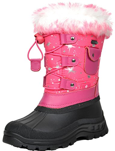 DREAM PAIRS Little Kid Ksnow Fuchsia Isulated Waterproof Snow Boots - 13 M US Little Kid