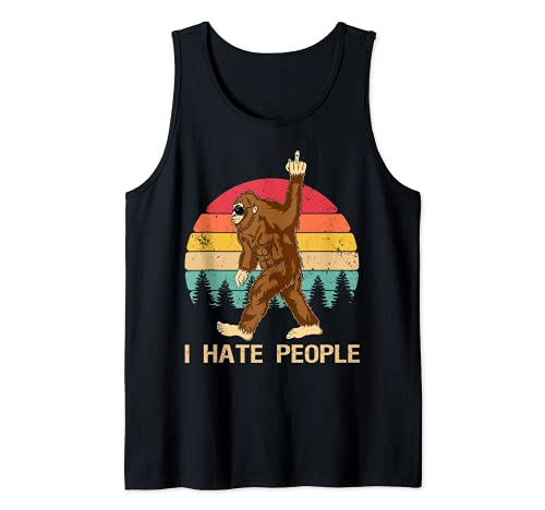 Funny Bigfoot, Odio a la gente, Dedo medio, Vintage, Retro Camiseta sin Mangas