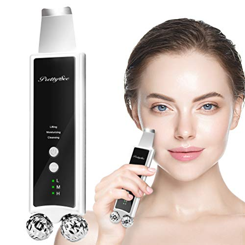 Skin Scrubber, 2-in-1 Face Massager Blackhead Removal Tool with 4 Modes, Ultrasonic Facial Scrubber Deep Cleansing and Microcurrent Massage Roller for Skin Toning/Nutrient Absorption/Lifting Treatment