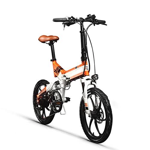 Liu Yu·casa creativa Bicicletas eléctricas for Adultos Plegables 25 0w 48v 8 AH Hidden Battery Dobling Bicicleta eléctrica 7 Velocidad Bicicleta eléctrica (Color : White-Orange)