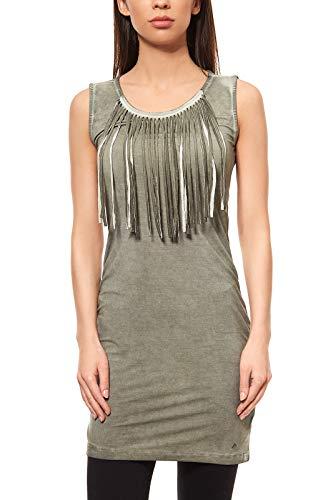 AJC Kleid Fransenkleid Jerseykleid Mini Freizeitkleid Grün Große Größen, Größenauswahl:46