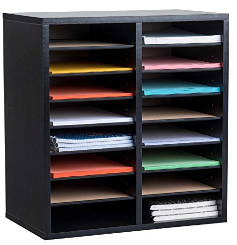 MyGift Dark Brown Wood Adjustable Desktop Storage Organizer Display Shelf Rack, Counter Top Bookcase