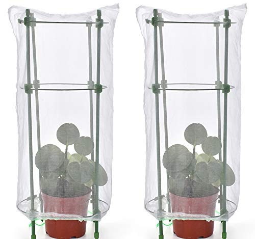 GRESPRI18 Inches Seedling Plant Protectors, 2 Sets Premium Protective Mesh Garden Cloche Against Damage to Slender Plant from Pets, Insects and Animals. 2 Replacement Parts.