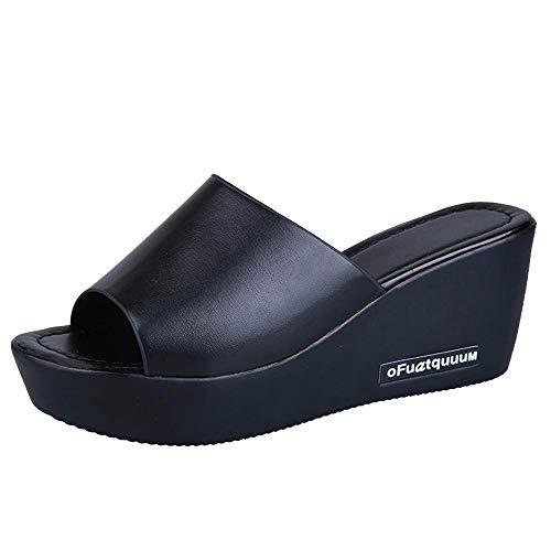Sunenjoy Femme Sandales Talons Compensés Peep Toe Boucle Bout Ouvert Mode Été Hauts Pente Romaines Sandales PU Mocassins Chaussures