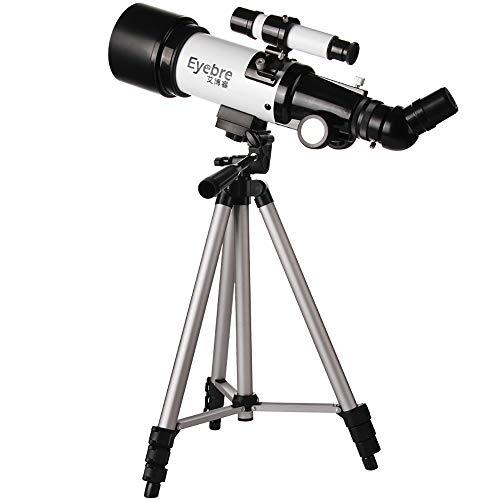 WANGLXST Telescopio 360 mm de Longitud de Enfoque y 80 mm de Apertura, 2 Piezas de Ojo telescopio con trípode Ajustable, Funcionamiento Flexible para Principiantes Adolescentes, Color Plateado