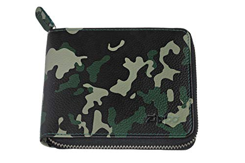 Zippo Leather zipper wallet Portamonete 12 centimeters Verde (Green Camouflage)