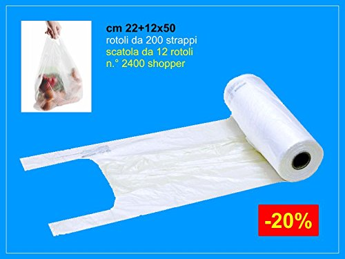 IMBALLAGGI 2000 - Rotolo Sacchetti Ortofrutta di Plastica - 3000 Strappi - Buste Plastica Shopper per Alimenti - 22x50 cm - Confezione da 6 Rotoli