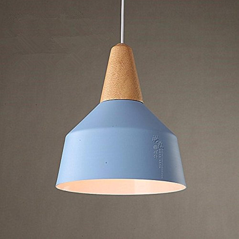 Beakjiful E27 suspension lustre Salle de séjour de la chambre d'enfant de cuisine de salle à hommeger de cuisine industrielle moderne vintage en bois de fer forgé, bleu 26  30Cm