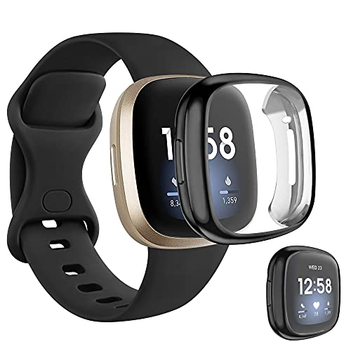 last chance order the fitbit versa 3 in time for christmas [Band + Case] for Fitbit Versa 3 Bands/Fitbit Sense Silicone Bands for Women Men, TPU Screen Protector Case for Fitbit Versa 3 / Sense (S, Black)
