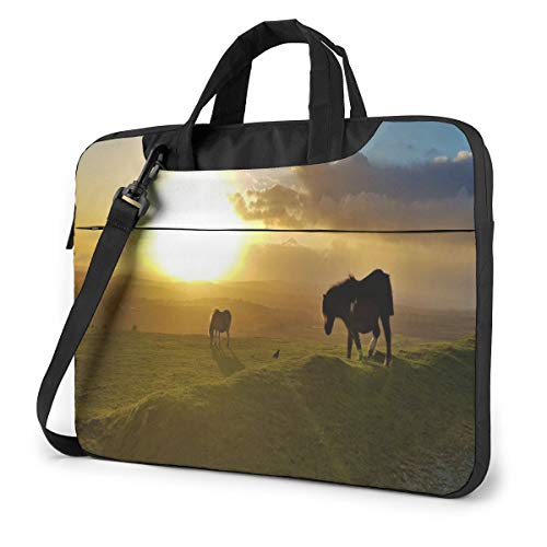 Wild Ponies Horse at Sunset Laptop Case 15.6 Inch Computer Carrying Protective Case with Strap Bag