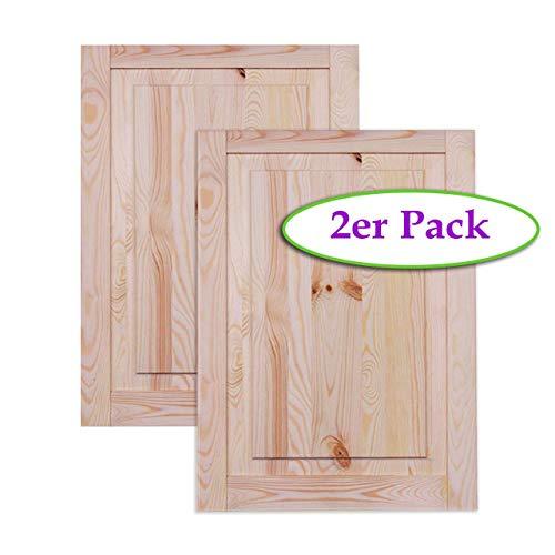 Kassettentür Holztür natur 69 x 49,4 cm Schranktür Raumteiler Schiebetür für Regale, Schränke, Möbel | Kiefer Holz unbehandelt | Doppel-Paket 2-er Pack