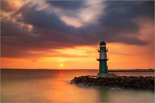 Posterlounge Leinwandbild 100 x 70 cm: Sonnenaufgang in Warnemünde von Simone Splinter - fertiges Wandbild, Bild auf Keilrahmen, Fertigbild auf echter Leinwand, Leinwanddruck
