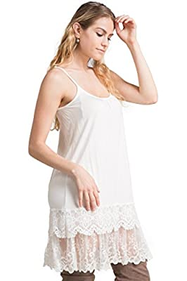 FASHIONOMICS Womens LACE Trim Solid Slip Extender with Adjustable Strap (S, Off White-2) by