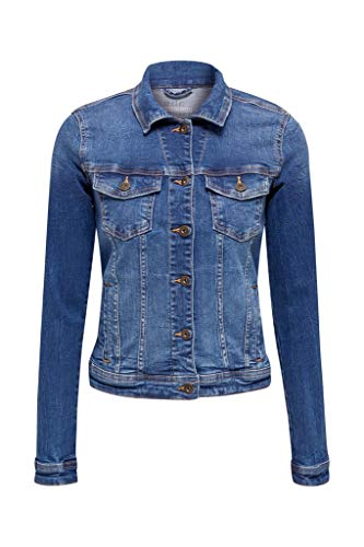edc by ESPRIT Damen 999CC1G802 Jacke, 902/BLUE MEDIUM WASH, L