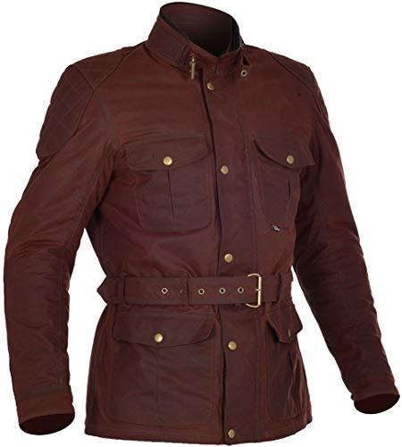 Oxford Bradwell Herren gewachst wasserdicht Motorrad Jacke - Rifle grün - Ochsenblut rot, Medium