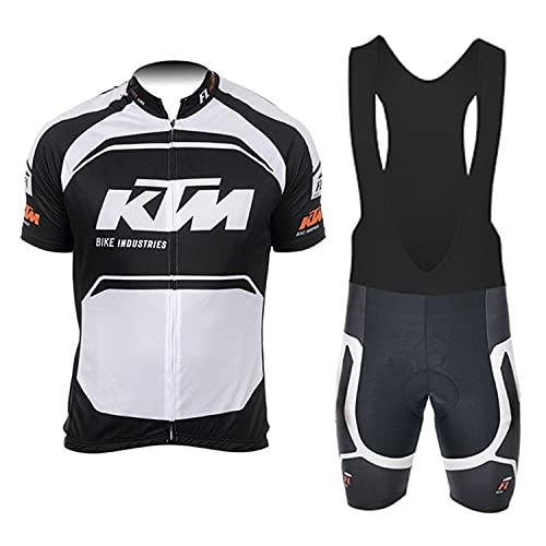 d Stil Abbigliamento Ciclismo Da Uomo,Top Manica Corta + Pantaloncini Da Ciclismo Con Gel Pad Asciugatura Veloce Traspirante Anti-Sweat Per Bici Da Corsa MTB (Bianco, M)