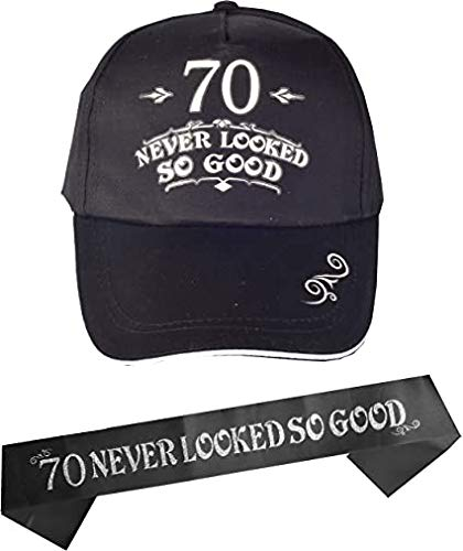 70th Birthday Gifts For Men 70th Birthday Hat And Sash Men 70 Never Looked So Good Baseball Cap And Sash 70th Birthday Party Supplies 70th Birthday Party Decorations 70th Birthday Accessories Buy