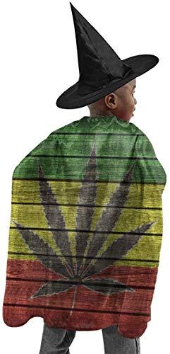 remmber me Marihuana Blatt Fahnen Cannabis Halloween Hexe Set Für Kinder Bunte Wizard Cape Polyester Halloween Hut Mantel Mystic Mantel Anzug Für Cosplay Weihnachten 59x15,8 Zoll