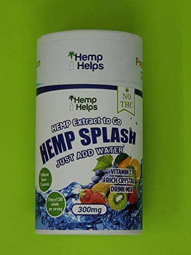 Hemp Splash Energy Drinks to Go, 300mg Hemp Powder in 7 Flavors, 25mg per Serving 12 Packets - Just Add Water, 100% Organic GMO-Free Hemp Drink for Stress Relief and Mood Support