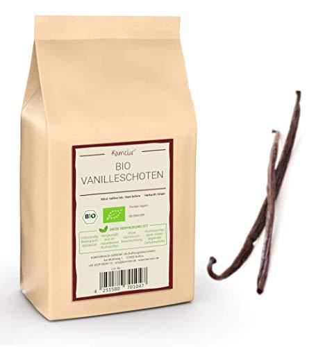 Baccelli interi BIO Bourbon Vaniglia - 1x5 pezzi da 15 a 17 cm di lunghezza - vera BIO Bourbon Vanilla del Madagascar - confezionata in un imballaggio ecologico