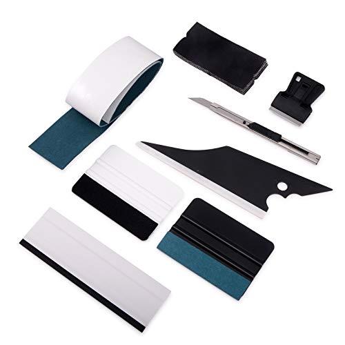 Winjun Car Wrapping Werkzeug Enthält Folienrakel Rakel Filz Mini Schaber 9mm Cuttermesser Wasserabzieher für Autofolie Fensterfolie Tönungsfolie Vinyl Wrap Verklebung