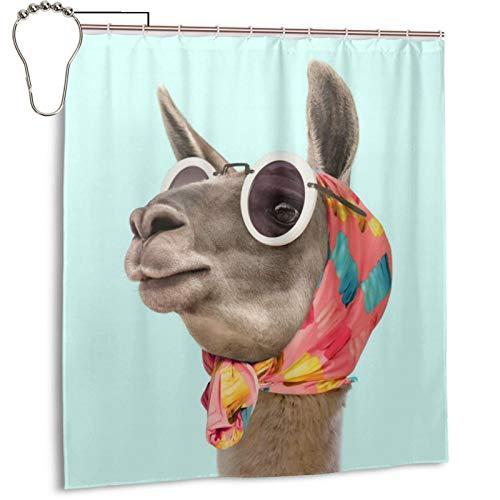 TYHG Duschvorhang mit Haken, wasserdicht, schimmelresistent, blickdicht, Metallösen, 3D-lustiger Esel mit Brille & Schal, Badezimmer-Dekoration, 168 x 183 cm