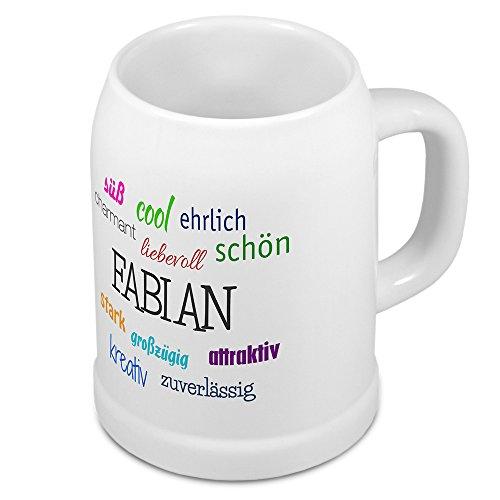 Bierkrug mit Name Fabian - Positive Eigenschaften von Fabian - Namens-Tasse, Becher, Maßkrug, Humpen