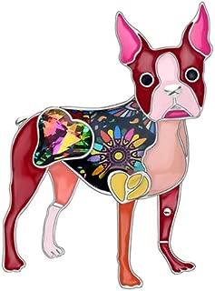 Enamel Alloy Rhinestone Boston Terrier Dog Brooches Pin Cute Animal Jewelry For Women Red
