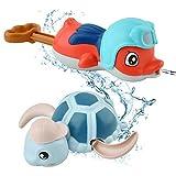 GizmoVine Juguete de baño para bebé con Tortuga para Nadar y Pistola de Agua, bañera Flotante con Cuerda, Juguetes para la Piscina, Lindos Juguetes acuáticos para niños, niñas y niños