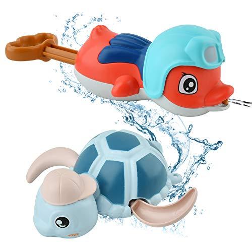 GizmoVine Badespielzeug mit Schwimmender Schildkröte und Wasserpistole, Schwimmende Badewannenspielzeug Pool Spielzeug Süßes Wasserspielzeug für Kinder Jungen Mädchen (Schildkröte Badespielzeug)
