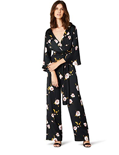 Marca Amazon - TRUTH & FABLE Mono de Noche con Manga Corta Mujer, Negro (Black Black), 40, Label: M