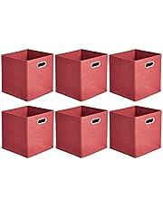 Amazon Basics 收納盒 折疊式 布制 帶把手 6個裝