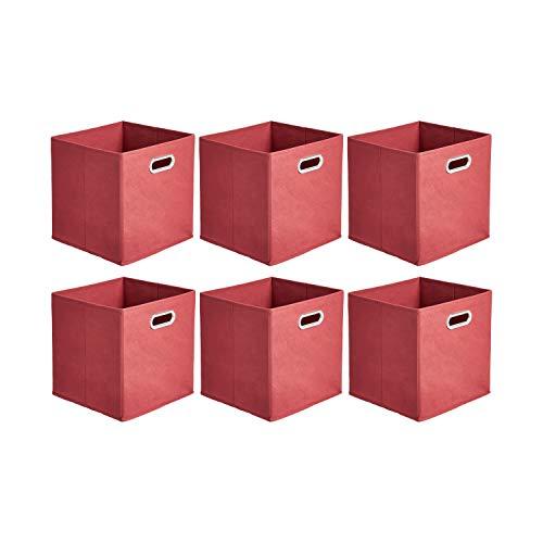 Amazon Basics - Cajas de almacenamiento de tela, con forma de cubo, plegables, con ojales metálicos, 6 unidades, rojo