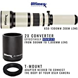 Ultimaxx 650-1300mm (with 2X- 1300-2600mm) Telephoto Zoom Lens for Nikon D7500, D500, D600, D610, D700, D750, D800, D810, D850, D3100, D3200, D3300, D3400, D5100, D5200, D5300, D5500, D5600, D7000