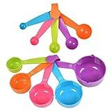 10 cucharas medidoras de plástico en 5 colores, cucharas medidoras, vaso medidoras, vaso de medición multicolor, herramienta de medición de cocina para cocinar herramientas de horneado