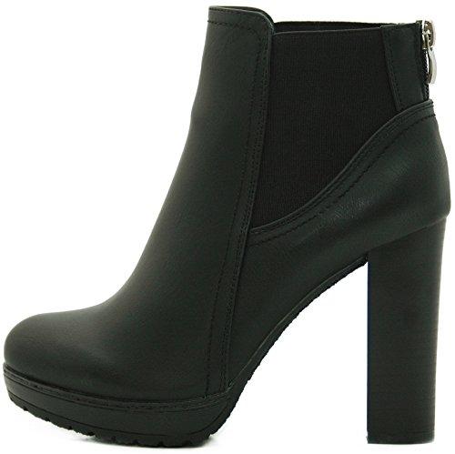 Kayla Shoes Chelsea Boots Plateau Stiefeletten mit Blockabsatz in Holzoptik (39, Schwarz)