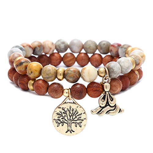 Natural Gemstone Healing Yoga Beaded Bracelets for Women Tree of Life Chakra Bracelet Jasper & Tibetan Agate-Wooden