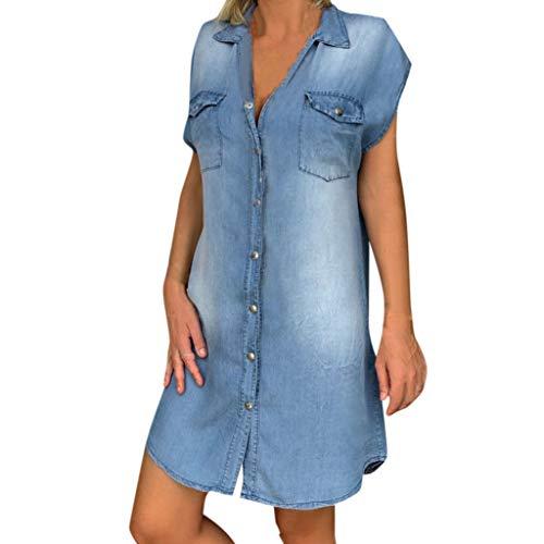 Ansenesna Kleid Jeans Damen Kurz Locker Elegant Hemdkleid Frauen Denim Mini A Linie Kleider (Blau,XXL)