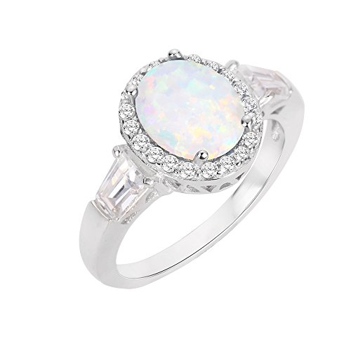 CloseoutWarehouse Oval Halo White Simulated Opal Ring Sterling Silver Size 7