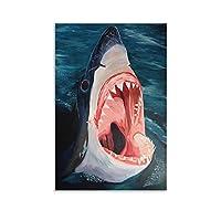 水から出てくるサメの絵 ポスター キャンバスポスター寝室の装飾スポーツ風景オフィスルームの装飾ギフト,キャンバスポスター壁アートの装飾リビングルームの寝室の装飾のための絵画の印刷 16x24inch(40x60cm)